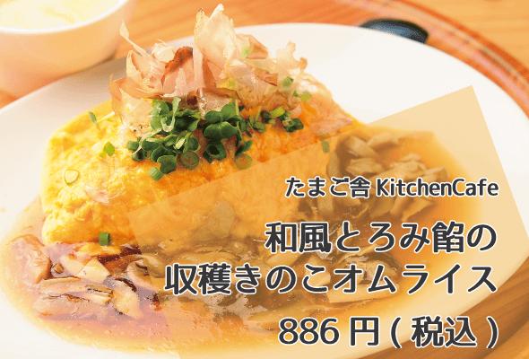 たまご舎KitchenCafe_和風とろみ餡の収穫きのこオムライス