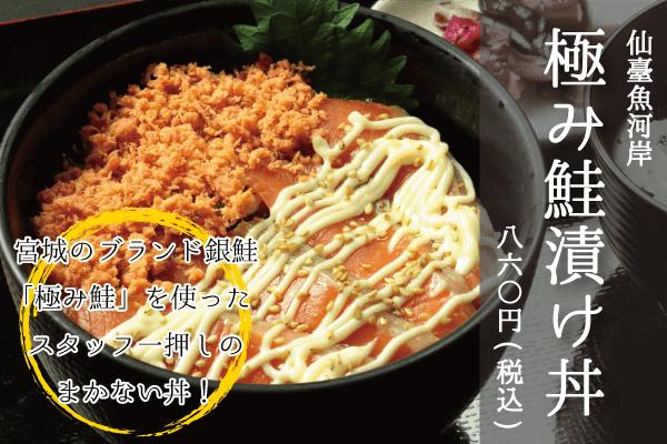 宮城のブランド銀鮭「極み鮭」を使ったスタッフ一押しのまかない丼_仙臺魚河岸_極み鮭漬け丼