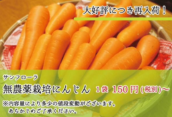サンフローラ_無農薬栽培にんじん_1袋-150円(税別)〜
