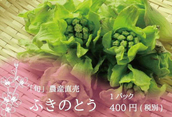 「旬」農産直売 ふきのとう 1パック400円(税別)