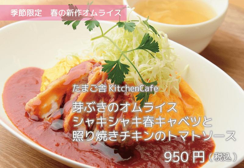 たまご舎KitchenCafe 季節限定春の新作オムライス 芽ぶきのオムライスシャキシャキ春キャベツと照り焼きチキンのトマトソース 950円